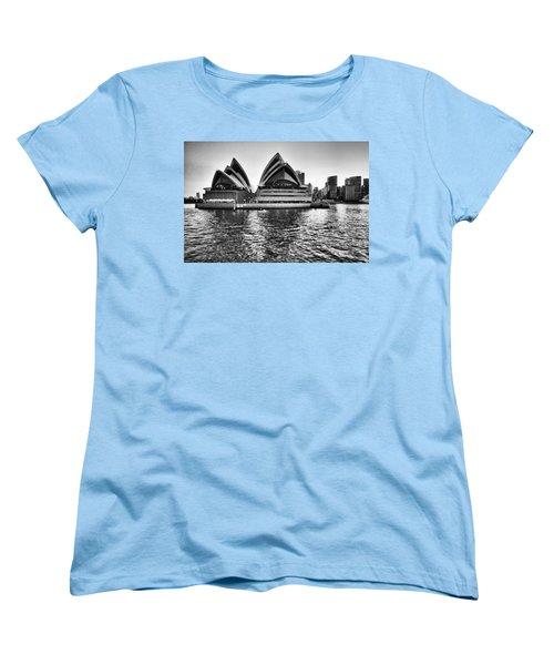 Sydney Opera House-black And White Women's T-Shirt (Standard Cut) by Douglas Barnard
