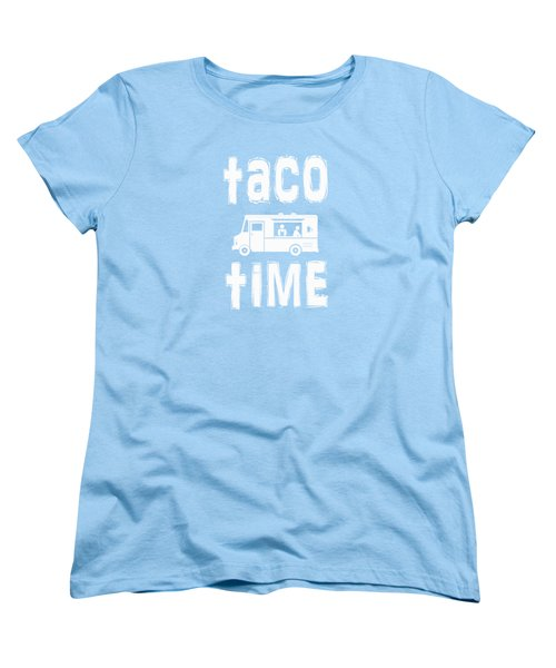 Women's T-Shirt (Standard Cut) featuring the drawing Taco Time Food Truck Tee by Edward Fielding