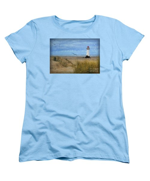 Women's T-Shirt (Standard Cut) featuring the digital art Talacre Lighthouse - Wales by Lianne Schneider