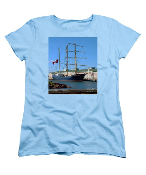 Tall Ship Waiting Women's T-Shirt (Standard Cut) by RC DeWinter