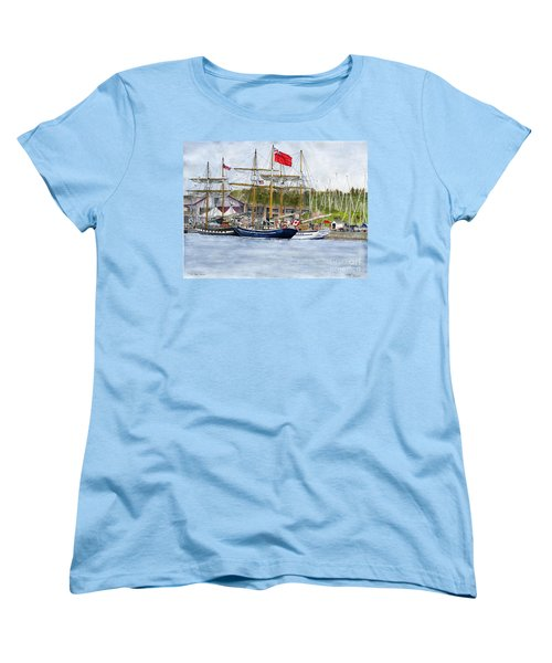 Women's T-Shirt (Standard Cut) featuring the painting Tall Ships Festival by Melly Terpening