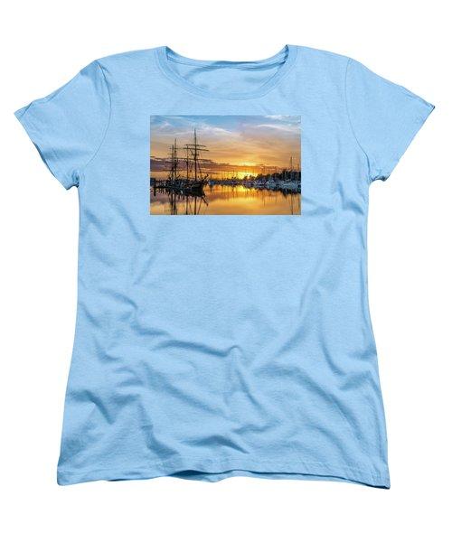 Tall Ships Sunset 1 Women's T-Shirt (Standard Cut) by Greg Nyquist