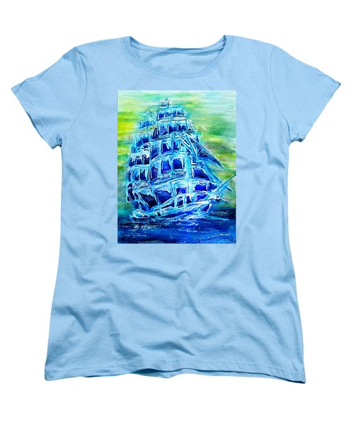 Women's T-Shirt (Standard Cut) featuring the painting Tallship Alcohol Inks by Danielle  Parent