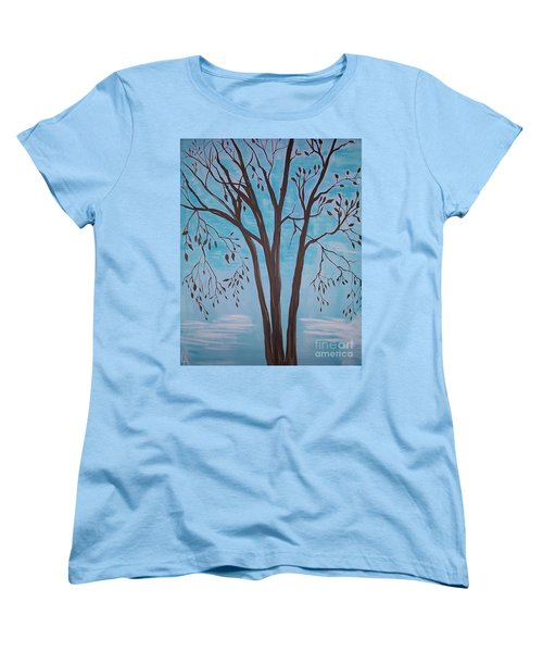 Women's T-Shirt (Standard Cut) featuring the painting Teal And Brown by Leslie Allen