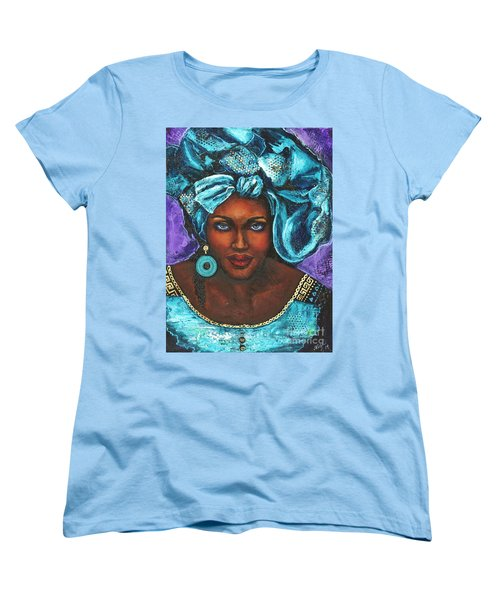 Women's T-Shirt (Standard Cut) featuring the painting Teal Headwrap by Alga Washington