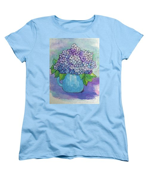 Women's T-Shirt (Standard Cut) featuring the painting Teapot Hydranger by Rosemary Aubut