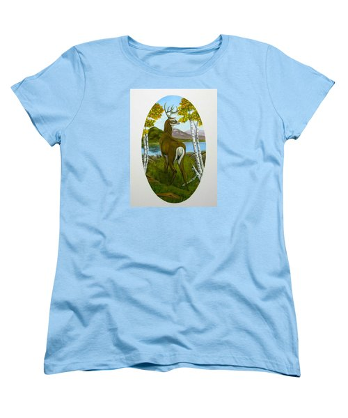 Women's T-Shirt (Standard Cut) featuring the painting Teddy's Deer by Sheri Keith