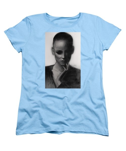 Women's T-Shirt (Standard Cut) featuring the painting Temporary Secretary by Jarko Aka Lui Grande