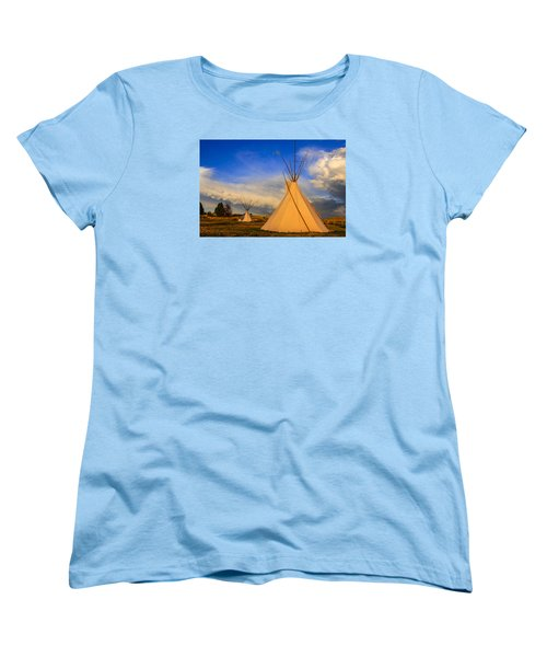 Tepees At Sunset In Montana Women's T-Shirt (Standard Cut) by Chris Smith
