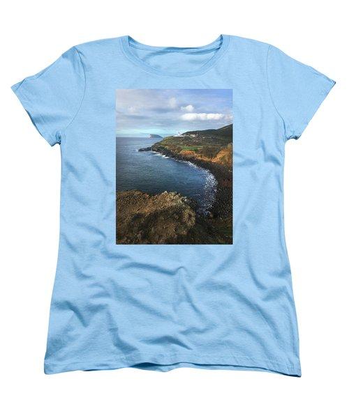 Terceira Island Coast With Ilheus De Cabras And Ponta Das Contendas Lighthouse  Women's T-Shirt (Standard Cut) by Kelly Hazel