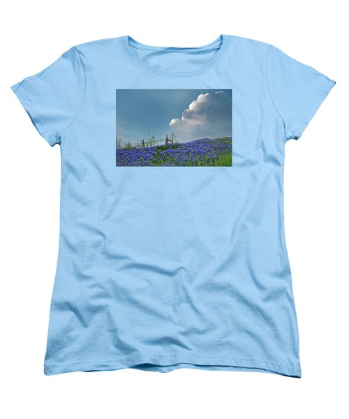 Women's T-Shirt (Standard Cut) featuring the photograph Texas Bluebonnets And Spring Showers by David and Carol Kelly