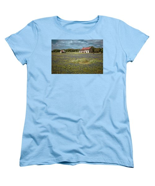 Women's T-Shirt (Standard Cut) featuring the photograph Texas Stone House by Linda Unger