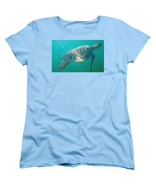 Women's T-Shirt (Standard Cut) featuring the painting Thaddeus The Turtle by Erika Swartzkopf