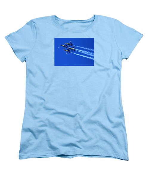 Thanks Goodness For That Fourth Dimension As A Boeing 767 Transitions Above The Box. Women's T-Shirt (Standard Cut)