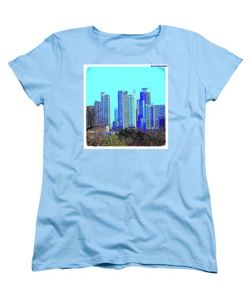 The #austin #skyline On A Sunny, Cold Women's T-Shirt (Standard Cut) by Austin Tuxedo Cat