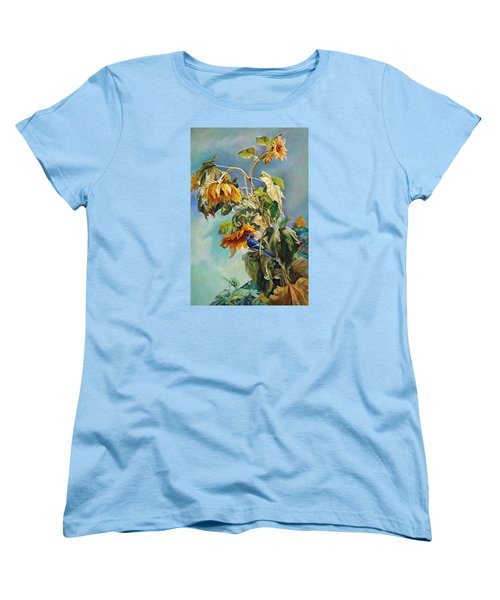The Blue Jay Who Came To Breakfast Women's T-Shirt (Standard Cut) by Svitozar Nenyuk