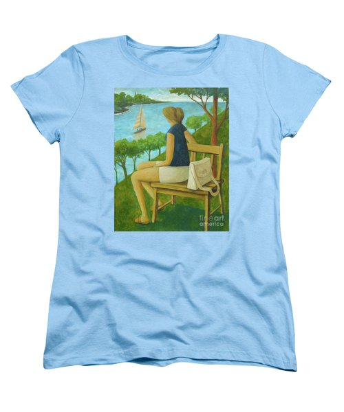 Women's T-Shirt (Standard Cut) featuring the painting The Bluff by Glenn Quist