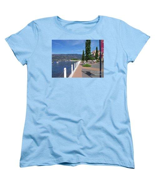 Women's T-Shirt (Standard Cut) featuring the painting The Boardwalk In Kelowna   by Rod Jellison