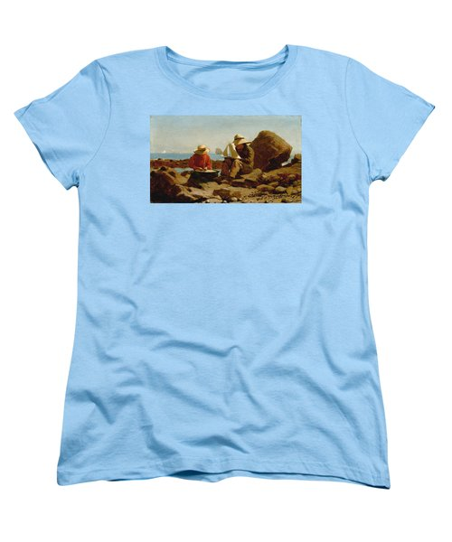 Women's T-Shirt (Standard Cut) featuring the painting The Boat Builders - 1873 by Winslow Homer