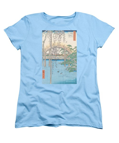 The Bridge With Wisteria Women's T-Shirt (Standard Cut) by Hiroshige