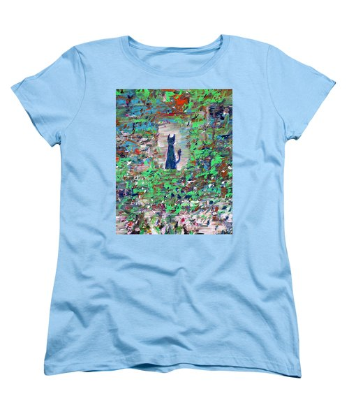 Women's T-Shirt (Standard Cut) featuring the painting The Cat In The Garden by Fabrizio Cassetta