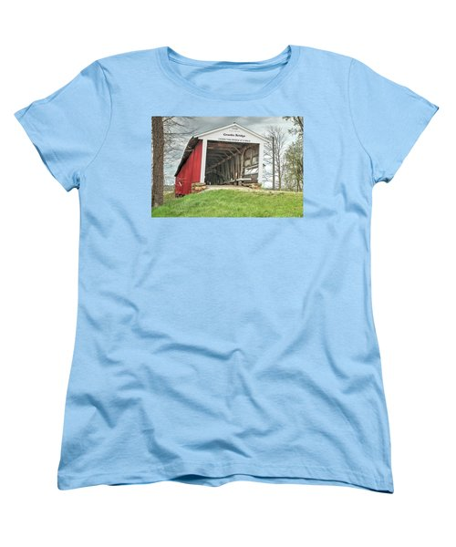 Women's T-Shirt (Standard Cut) featuring the photograph The Crooks Covered Bridge by Harold Rau