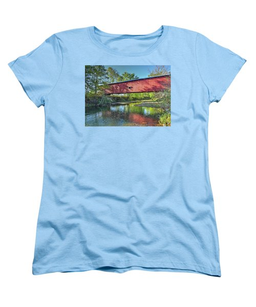 Women's T-Shirt (Standard Cut) featuring the photograph The Crooks Covered Bridge - Sideview by Harold Rau