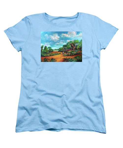 Women's T-Shirt (Standard Cut) featuring the painting The Cycle Of Life by Randol Burns