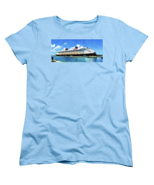 Women's T-Shirt (Standard Cut) featuring the painting The Disney Dream In Nassau by Sandy MacGowan