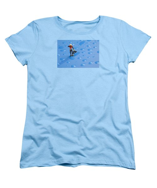 Women's T-Shirt (Standard Cut) featuring the photograph The Diver Among Water Drops Little People Big World by Paul Ge