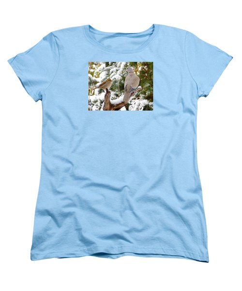 Women's T-Shirt (Standard Cut) featuring the photograph The Dove And The Swallow by Deborah Moen
