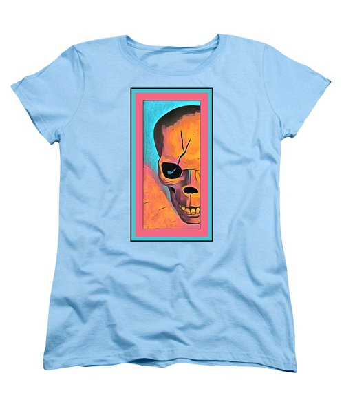 Women's T-Shirt (Standard Cut) featuring the digital art The Eye Of Death Abstract Skull by Floyd Snyder