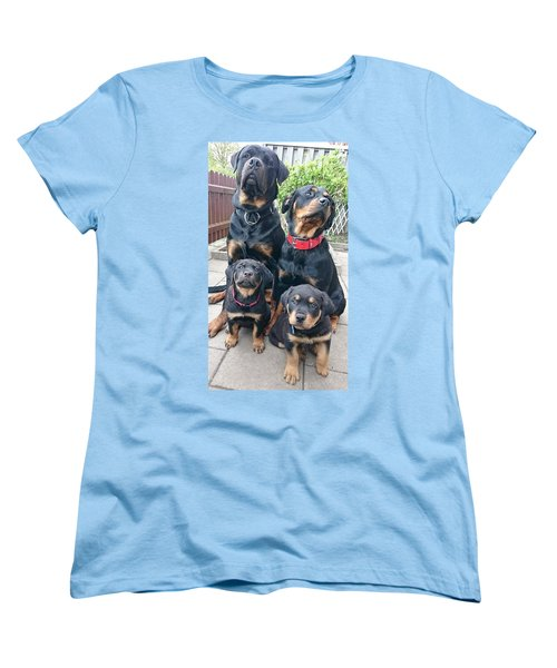 The Family Tree Rottweilers Women's T-Shirt (Standard Cut) by Sheila Mcdonald