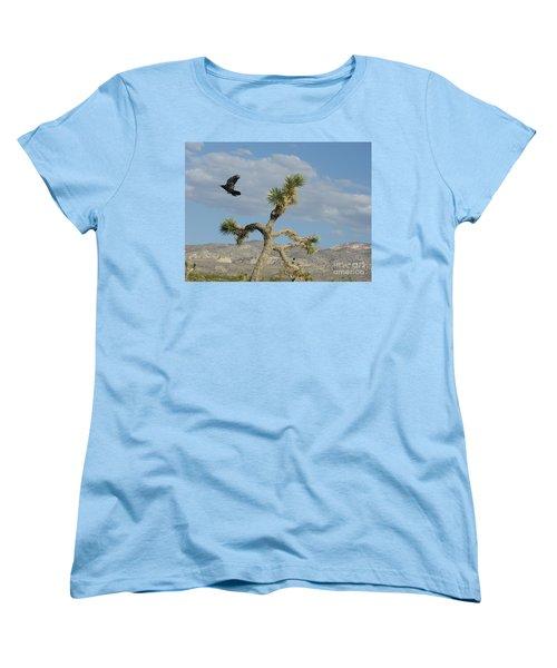 Women's T-Shirt (Standard Cut) featuring the photograph The Flight Of Raven. Lucerne Valley. by Ausra Huntington nee Paulauskaite
