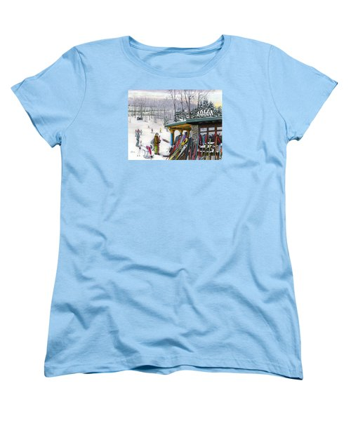 Women's T-Shirt (Standard Cut) featuring the painting The Foggy Goggle At Seven Springs by Albert Puskaric