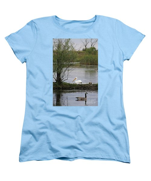 Women's T-Shirt (Standard Cut) featuring the photograph The Goose And The Pelican by Alyce Taylor