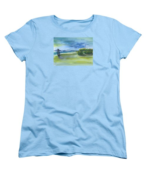Women's T-Shirt (Standard Cut) featuring the mixed media The Gray Man Visits Pawleys Island Sc by Frank Bright
