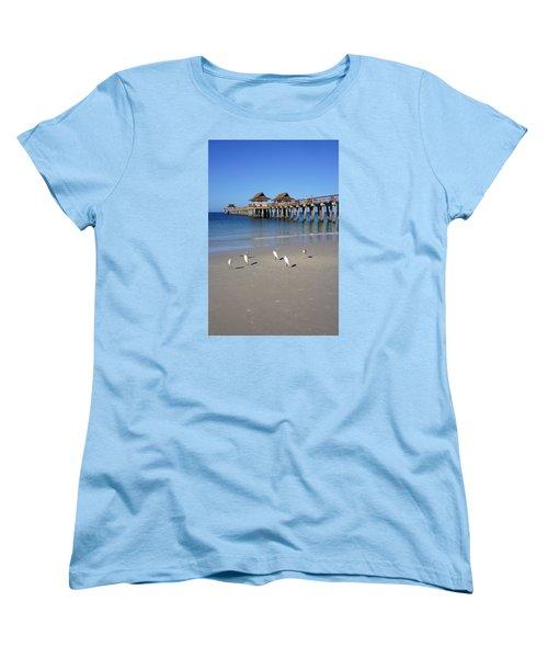 The Historic Naples Pier Women's T-Shirt (Standard Cut) by Robb Stan
