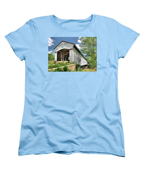 Women's T-Shirt (Standard Cut) featuring the photograph The Jackson Covered Bridge by Harold Rau