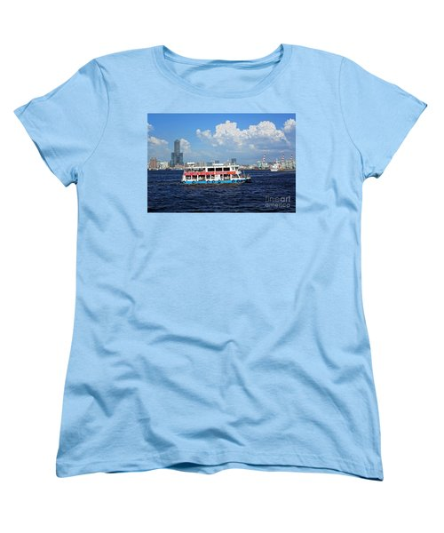 Women's T-Shirt (Standard Cut) featuring the photograph The Kaohsiung Harbor Ferry Crosses The Bay by Yali Shi