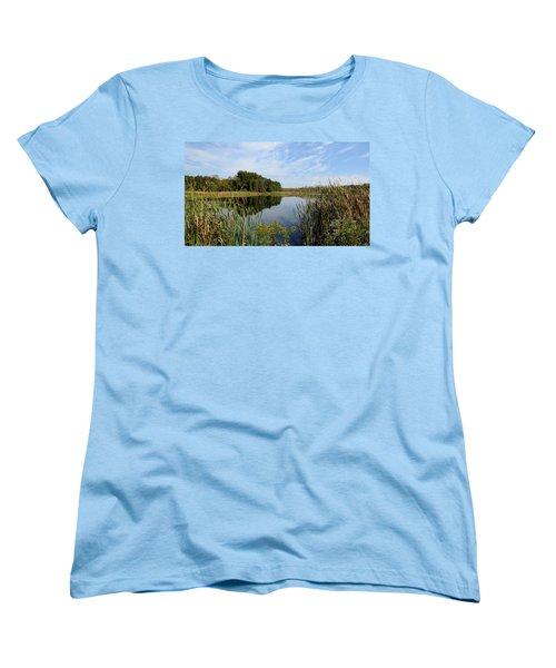 Women's T-Shirt (Standard Cut) featuring the photograph The Lake At Cadiz Springs by Kimberly Mackowski