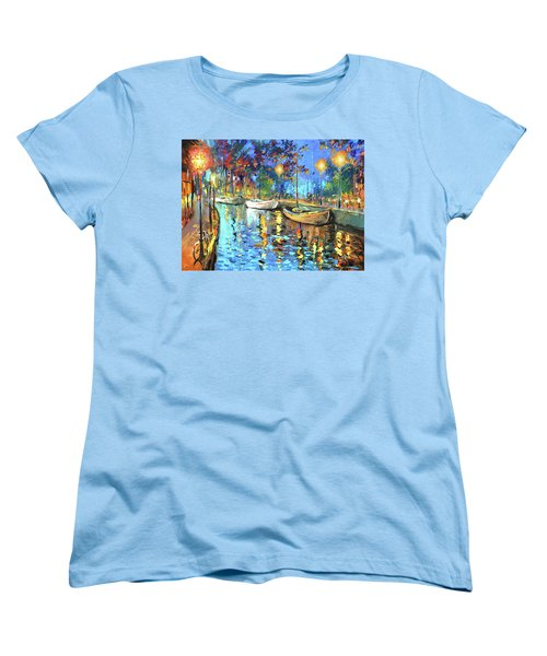 Women's T-Shirt (Standard Cut) featuring the painting The Lights Of The Sleeping City by Dmitry Spiros