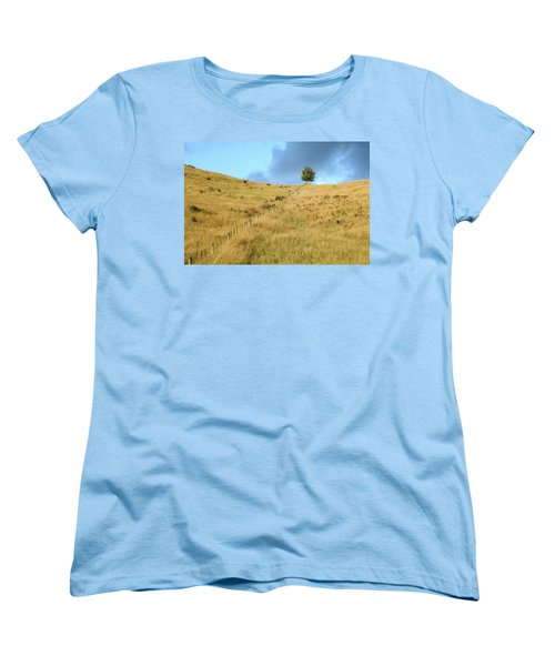 Women's T-Shirt (Standard Cut) featuring the photograph The Lines The Tree And The Hill by Yoel Koskas