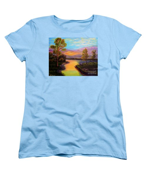 The Liquid Fire Of A Painted Golden Sunset Women's T-Shirt (Standard Cut) by Kimberlee Baxter