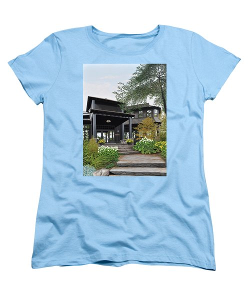 Women's T-Shirt (Standard Cut) featuring the painting The Lodge At Fawn Island by Kenneth M Kirsch