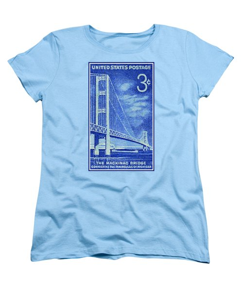 The Mackinac Bridge Stamp Women's T-Shirt (Standard Cut) by Lanjee Chee