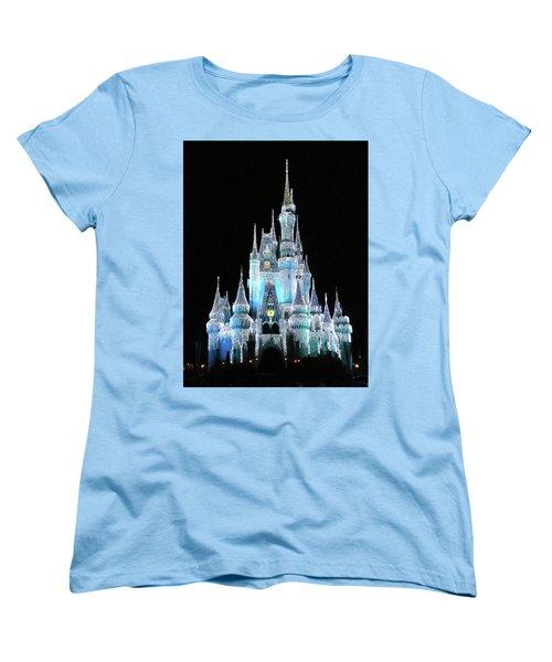 The Magic Kingdom Castle In Frosty Light Blue Walt Disney World Mp Women's T-Shirt (Standard Cut) by Thomas Woolworth