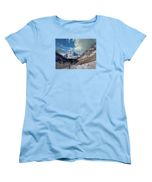 The Maroon Bells Twin Peaks Just Outside Aspen Women's T-Shirt (Standard Cut) by Carol M Highsmith