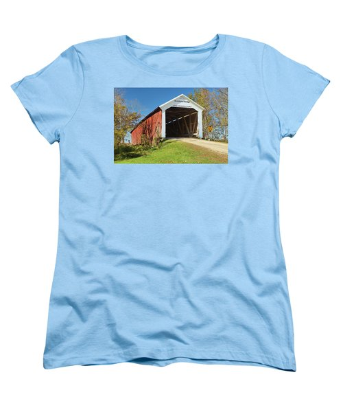 Women's T-Shirt (Standard Cut) featuring the photograph The Mcallister Covered Bridge by Harold Rau