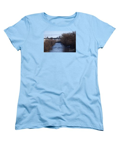 Women's T-Shirt (Standard Cut) featuring the digital art The Menomonee Near 33rd And Canal Streets by David Blank